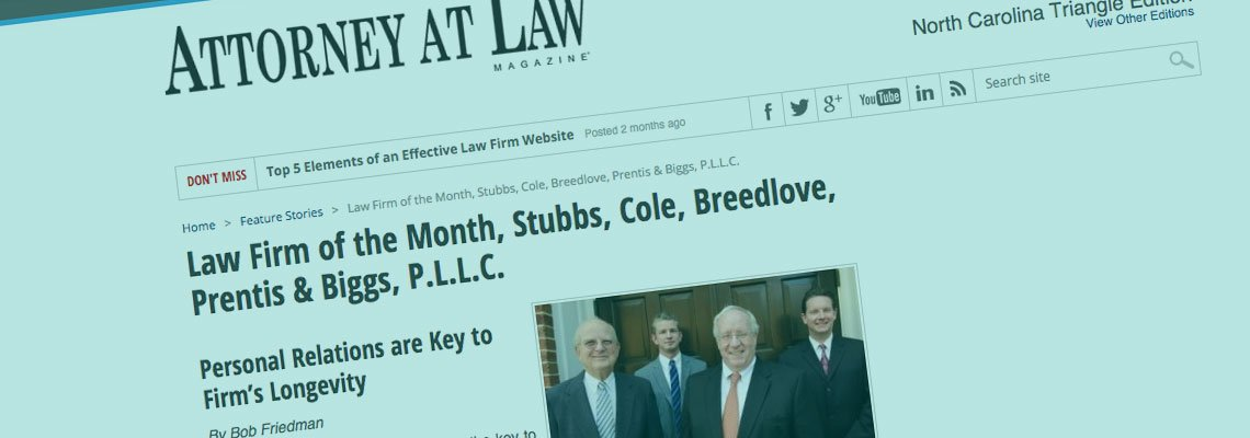 Stubbs Cole awarded Law Firm of the Month.